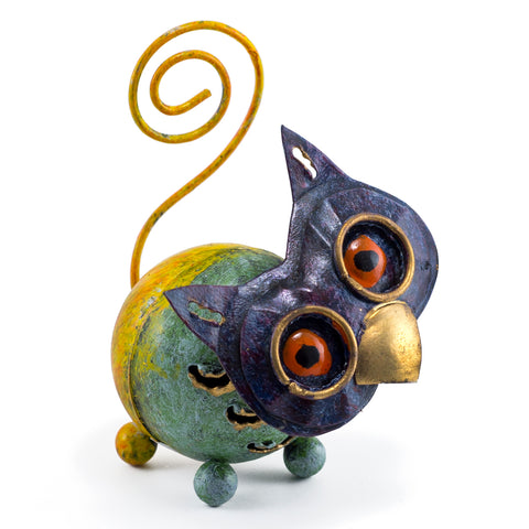 Handcrafted Owl Critter Figurine Curly Tail Tin Metal Animal Sculpture 1