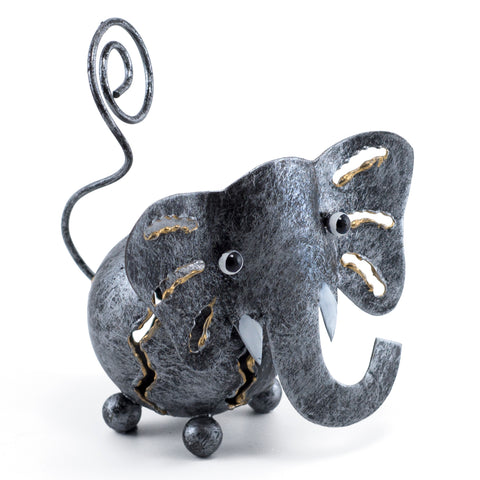 Handcrafted Elephant Figurine Curly Tail Tin Metal Animal Sculpture 1
