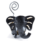 Handcrafted Elephant Figurine Curly Tail Tin Metal Animal Sculpture 2
