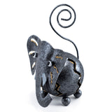 Handcrafted Elephant Figurine Curly Tail Tin Metal Animal Sculpture 3