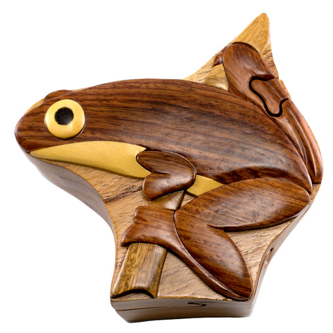 Wood Intarsia Tree Frog Puzzle Trinket Box