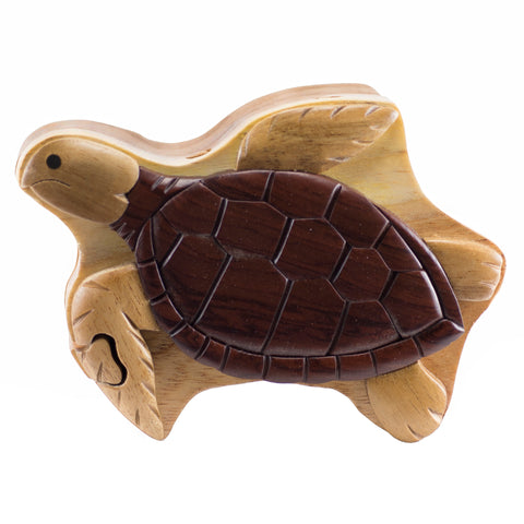 Wood Intarsia Sea Turtle Puzzle Trinket Box