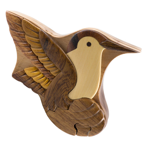 Wood Intarsia Hummingbird Bird Puzzle Trinket Box
