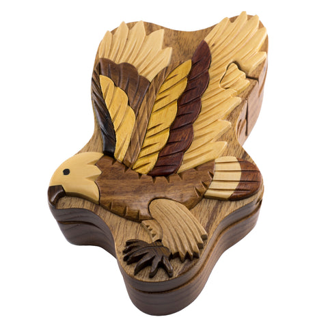 Wood Intarsia Eagle Puzzle Trinket Box