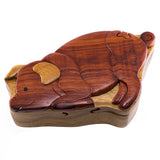 Wood Intarsia Pig Puzzle Trinket Box