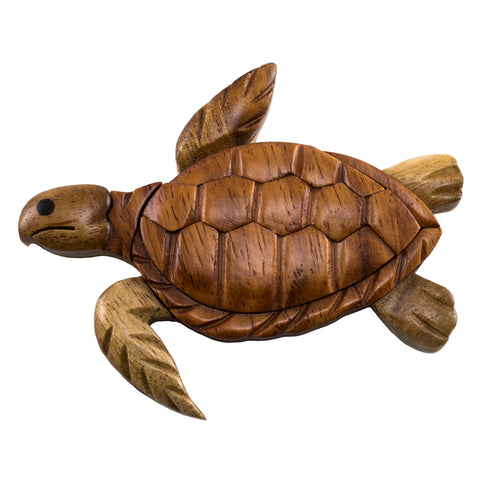 Wood Intarsia Sea Turtle Magnet