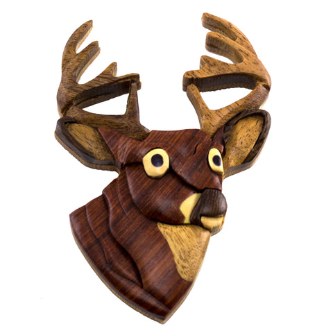 Wood Intarsia Deer Head Buck Magnet