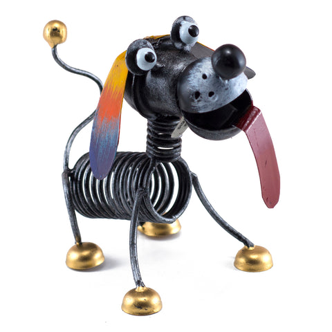 Handcrafted Dog Spring Body Figurine Tin Metal Animal Sculpture 1