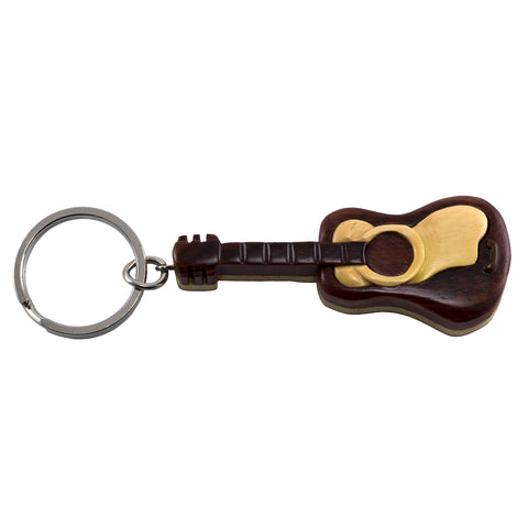 Wood Intarsia Guitar Key Ring Keychain