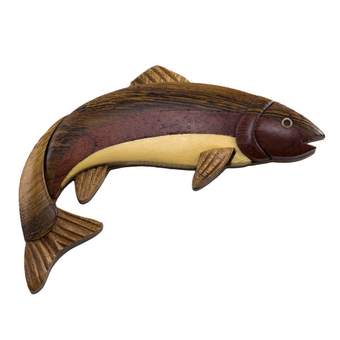 Wood Intarsia Rainbow Trout Fish Magnet