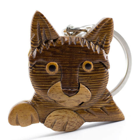 Wood Intarsia Cat Key Ring Keychain