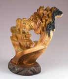Male Lion Head Bust Faux Carved Wood Look Figurine