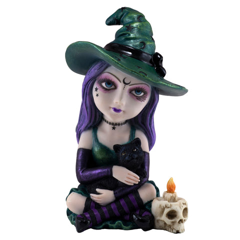 Cosplay Kids Little Witch Figurine With Black Cat 1