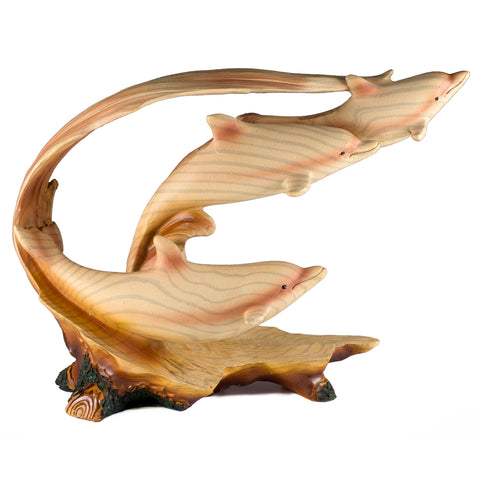 Three Dolphins Riding Wave Figurine Faux Wood Carved Look 1