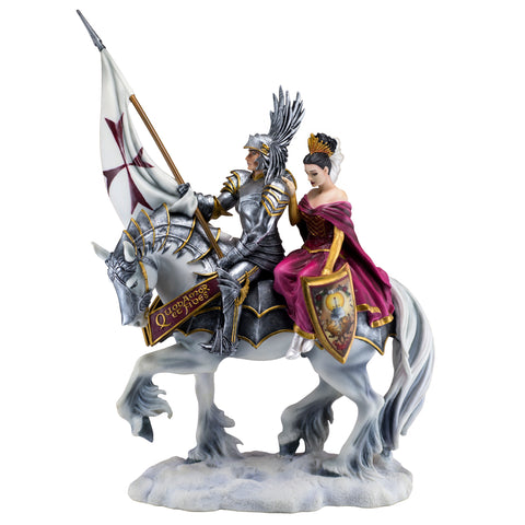 Armored Knight With Princess On Horse Figurine 1