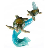 Green Sea Turtles Mother and Baby On Wave Figurine 1