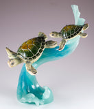 Green Sea Turtles Mother and Baby Riding Water Wave Figurine 2