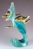 Green Sea Turtles Mother and Baby Riding Water Wave Figurine 3