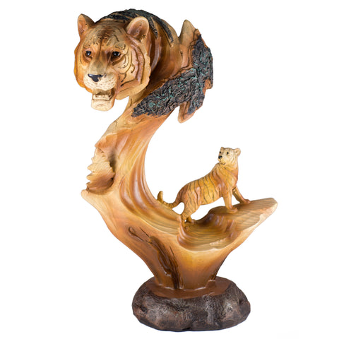 Tiger Head Bust Faux Carved Wood Look Figurine