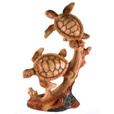 Pair of Sea Turtles Faux Carved Wood Look Figurine 1