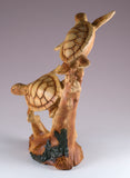 Pair of Sea Turtles Faux Carved Wood Look Figurine 4