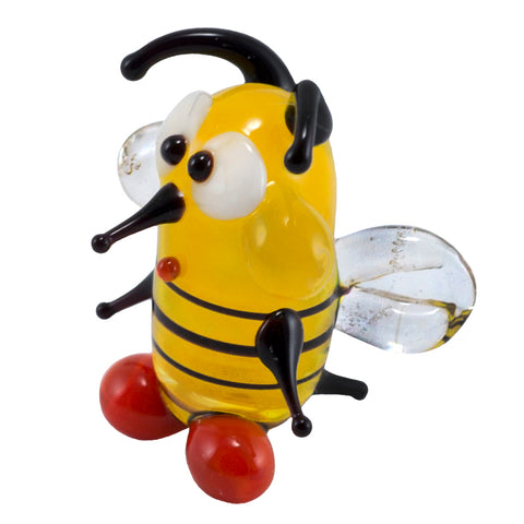 mini lampwork glass yellow bee 1