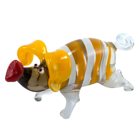 Lampwork Hand Blown Glass Yellow Striped Pig Figurine 1
