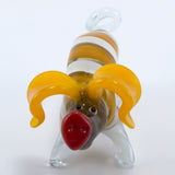 Lampwork Hand Blown Glass Yellow Striped Pig Figurine 2