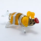 Lampwork Hand Blown Glass Yellow Striped Pig Figurine 3