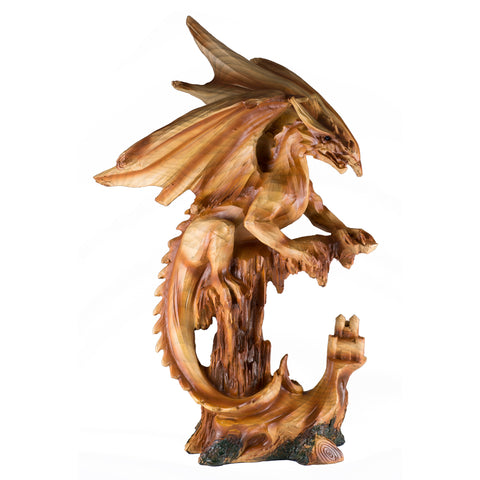 Dragon With Castle Figurine Statue Faux Wood Carved Look