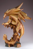 Dragon With Castle Figurine Statue Faux Wood Carved Look 3