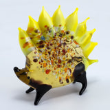 Lampwork Hand Blown Glass Yellow Porcupine Figurine 3