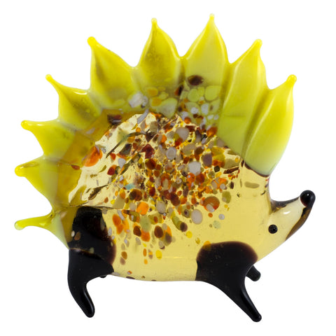 Lampwork Hand Blown Glass Yellow Porcupine Figurine 1