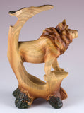 Male Lion Faux Carved Wood Look Figurine 3