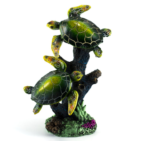 Colorful Pair of Swimming Green Sea Turtles Figurine
