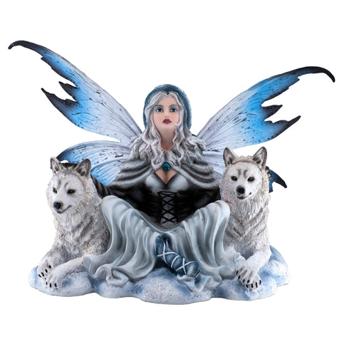 Fairy With White Wolves Figurine