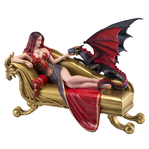 Woman On Sofa Figurine Statue With Dragon Companion 1