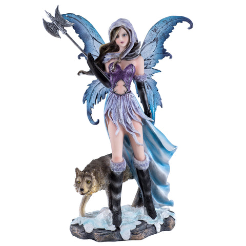 Fairy With Wolf Holding Poleaxe Figurine