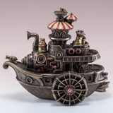 Steampunk Gondola Boat Ship Figurine Cold Cast Bronze Statue 2