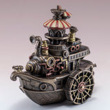 Steampunk Gondola Boat Ship Figurine Cold Cast Bronze Statue 3