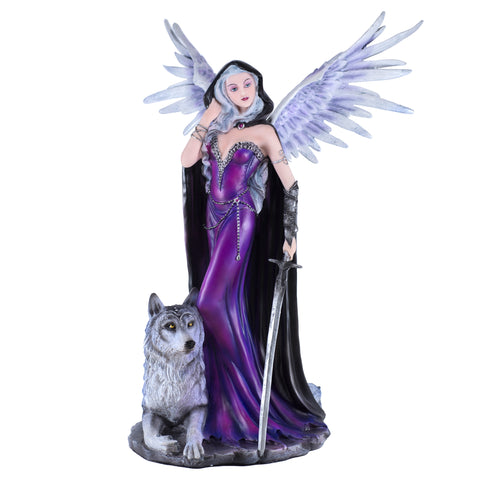 Dark Gothic Angel Fairy With Wolf Figurine