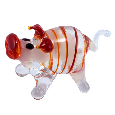 Miniature Lampwork Hand Blown Glass Red Striped Pig Figurine 1