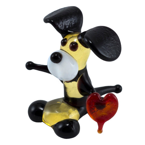 Miniature Lampwork Hand Blown Glass Dog With Heart Figurine 1