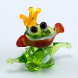 Miniature Lampwork Hand Blown Glass Frog Prince Figurine 2