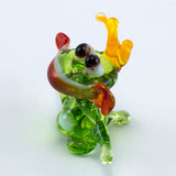 Miniature Lampwork Hand Blown Glass Frog Prince Figurine 3