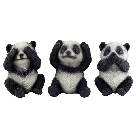 See, Hear, Speak No Evil Panda Bear Figurines 1
