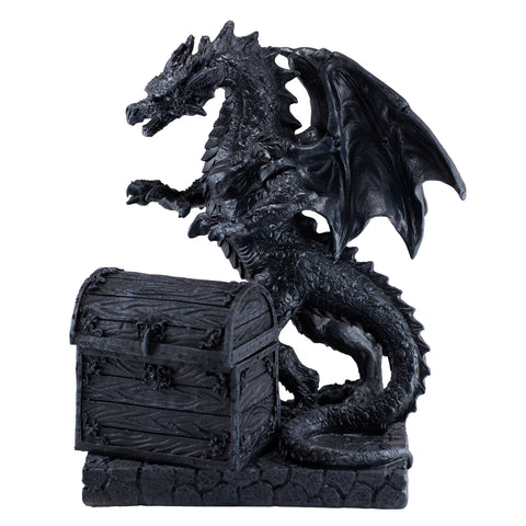 Black Dragon With Opening Treasure Chest Box Figurine 1