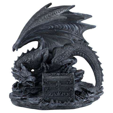 Black Dragon With Opening Treasure Chest Box Figurine 5