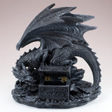 Black Dragon With Opening Treasure Chest Box Figurine 9