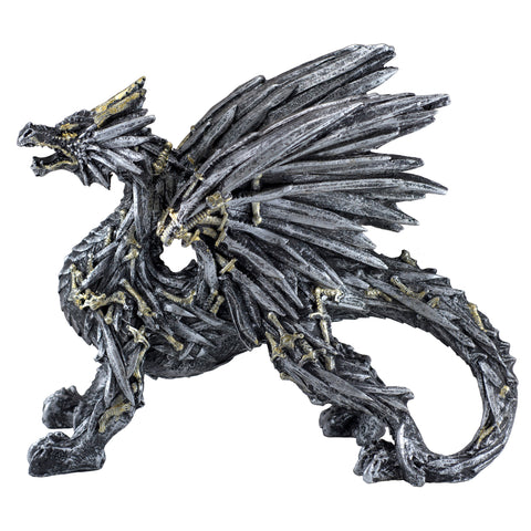 Swords and Knives Dragon Silver Colored Figurine 1